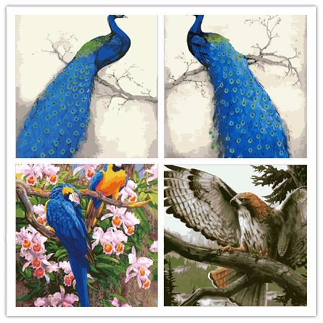 Yunxi Seni Dengan Diy Bingkai Burung Merak Lukisan Minyak Dengan