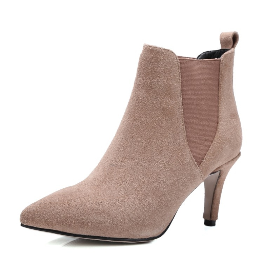 ankle boots for women scrub genuine leather boots woman slip-on pointed toe 43 big size ladies shoes winter boots &M98-4 wetkiss big size 32 43 genuine leather pointed toe ankle boots women 2017 winter boots short plush keep warm wedges shoes woman