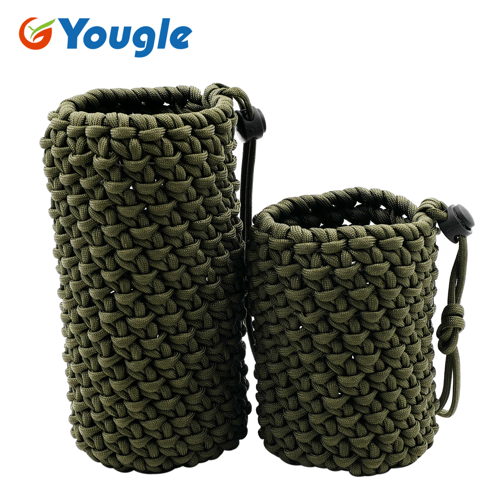 550 Paracord Parachute Cord Water Bottle Holder Carrier Vase Jardiniere Pen Container For Outdoor Emergency Survival