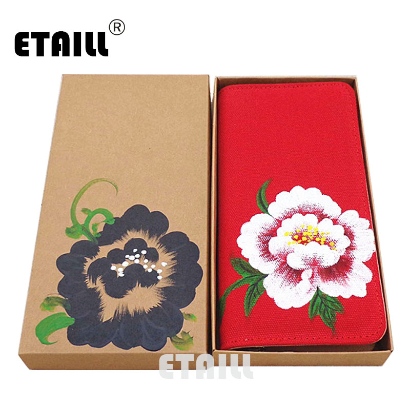 ETAILL Original Peony Hand Painted Red Long Wallets Card Holder Carteira Feminina Female Coin Purse Ladies Money Cellphone Bag dudini pu leather women wallets vintage plaid long wallet card holder carteira feminina female coin purse ladies money bag