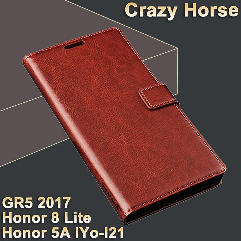 Huawei Honor 5A LYO-L21 pouzdro kožené pouzdro Luxusní flip kožené pouzdro pro obal gr5 2017 Crazy kůň čest 8 lite pouzdro