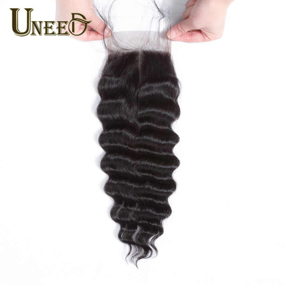 """Pelo Uneed malasio suelto onda profunda cierre Remy cabello humano encaje cierre 120% densidad 10 """"-20"""" suizo el encaje puede coincidir con los paquetes"""