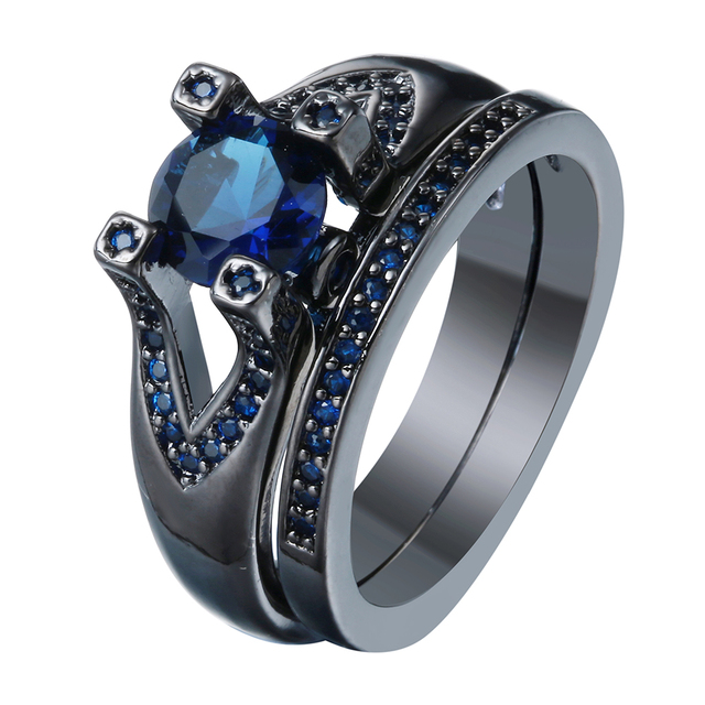 luxury black gun promise Rings sets for wedding new women jewelry