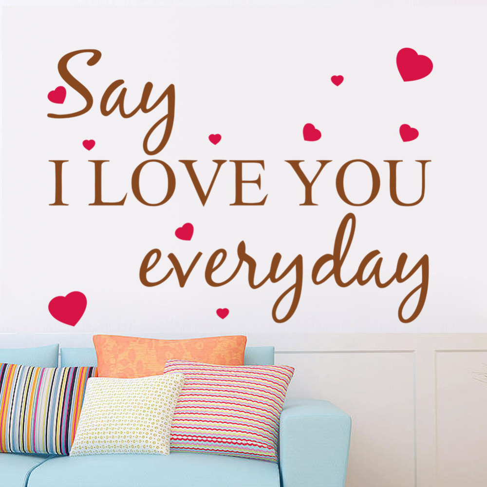 Wall Decal I Love You Everyday Heart Words Large Nice Wall Sticker Quote Vinyl Wall Art Decals Home Decor Kids Room Decals In Wall Stickers From Home
