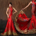 Red Mermaid Satin Oriental Evening Dress Adorned Gold Peacock Pattern Crystal High Collar Women Formal Dresses