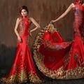 Red Sereia de Cetim Vestido De Noite Oriental Adornado Padrão Cristal Do Pavão Do Ouro Gola Alta As Mulheres Vestidos Formais