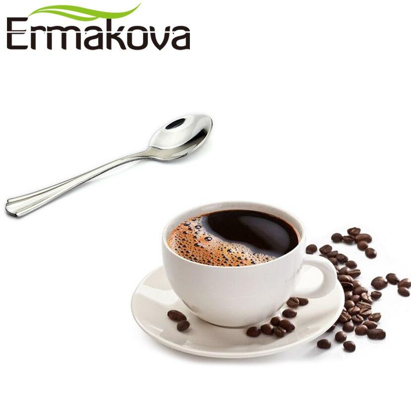 ERMAKOVA Set of 2 Espresso Spoon 4 Inches Mini Coffee Spoon Small Bistro Spoon for Dessert Stainless Steel Tea Appetizer