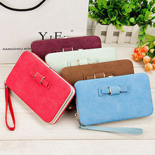 Women Bowknot Wallet Long Purse Phone Card Holder Clutch Large Capacity Pocket Female Solid PU  Wallets