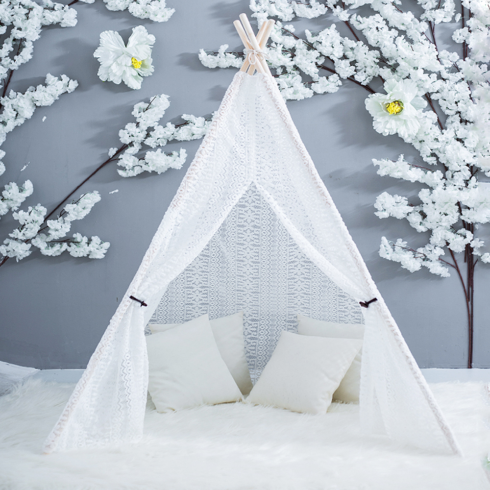 Oyuncaklar ve Hobi Ürünleri'ten Oyuncak Çadırlar'de Tam Dantel Teepee El Yapımı Hint Prenses Peri Oyun Çadırı Kapalı Oda Açık Saf Beyaz düğün duvağı Dekorasyon Oyuncak Kızlar için'da  Grup 1