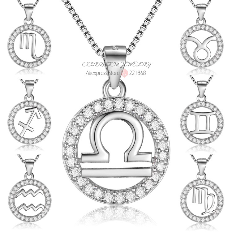 Zodiac Sign Gold Medallion Chain Necklaces 12 Variants: White Gold Pure Women 12 Constellations Pendant Necklace