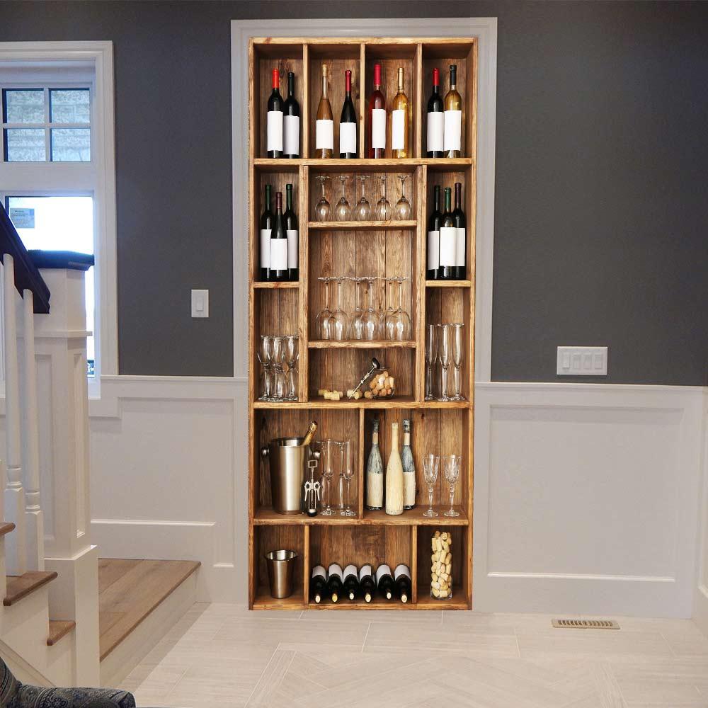 3D Wine Cabinet DIY Door Stickers PVC Adhesive Wallpaper Home Decor Decals Waterproof Mural For Living Room Bedroom Decoration