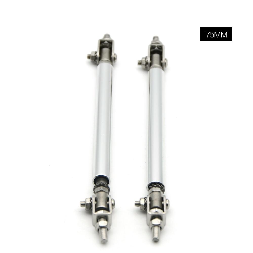 "Silver Adjustable 6.9/"" 8.2/"" Front Bumper Lip Splitter Rod Strut Tie Bar Support"