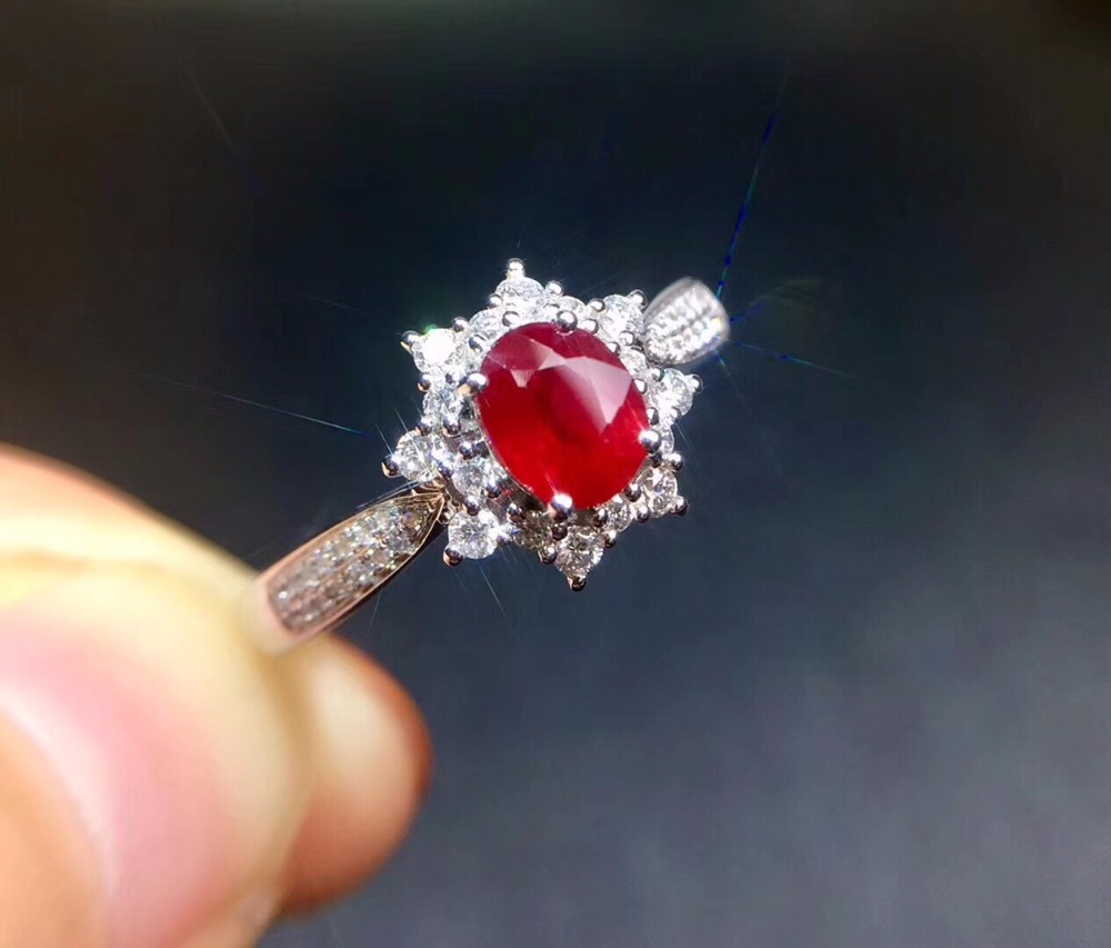 Fine Jewelry Pure 18 K White Gold Real Natural Pigeon Blood Red Ruby 0.85ct Diamonds Jewelry Females Rings for Women Fine RingFine Jewelry Pure 18 K White Gold Real Natural Pigeon Blood Red Ruby 0.85ct Diamonds Jewelry Females Rings for Women Fine Ring