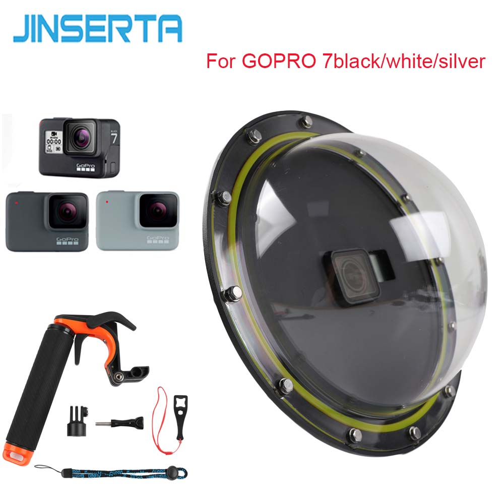 JINSERTA Waterproof Dome Port For GoPro 7 Black/White/Silver Camera Diving Lens Cover W/ Pistol Trigger Grip For Gopro 6 5