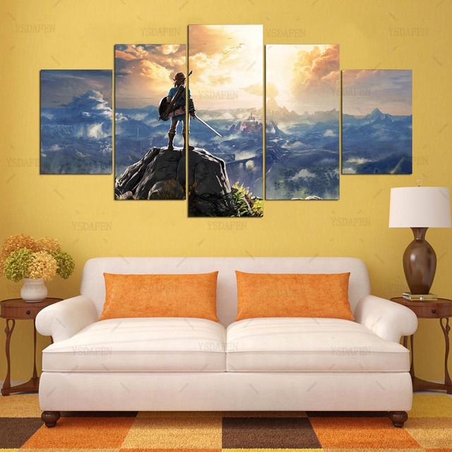 Canvas Painting Wall Pictures 5 Panel Game Wall Art Legend Of Zelda Poster For Living Room Home Decor Modular Pictures Frames 5