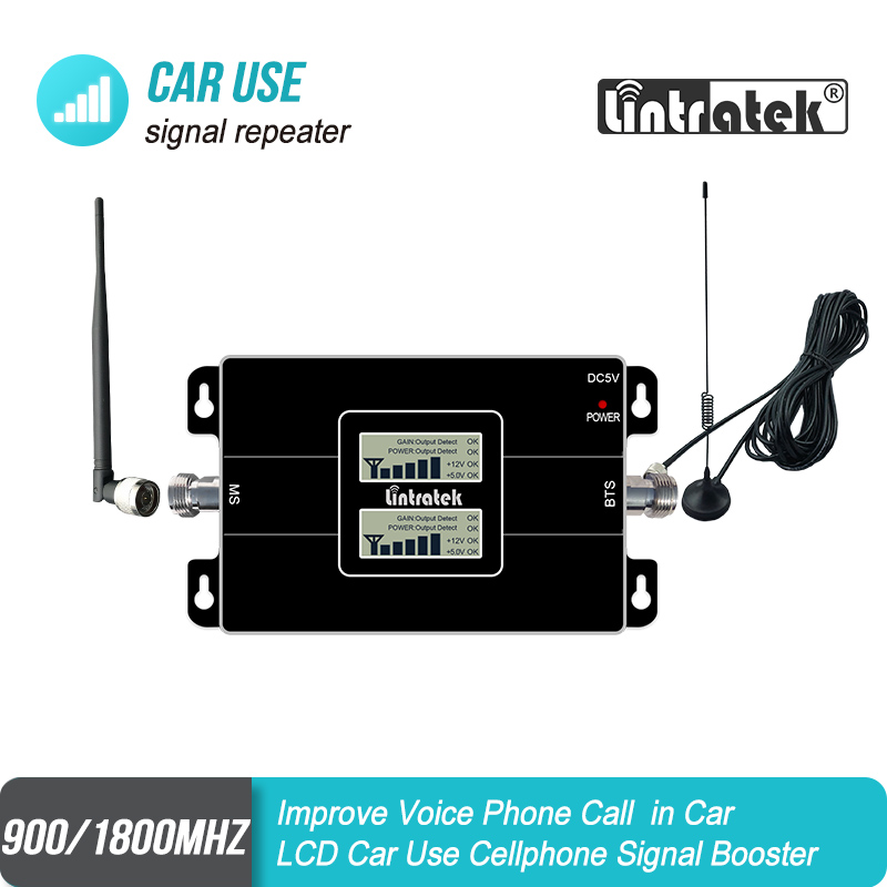 Lintratek GSM Dual Band Car Use Signal Booster 2G 900mhz 1800mhz Mobile Cellular Signal Repeater Amplifier Set S7j3