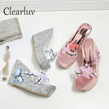 Brand new wedge sandals butterfly flower embroidery handmade sequin slippers thick bottom high heel womens shoes C1325