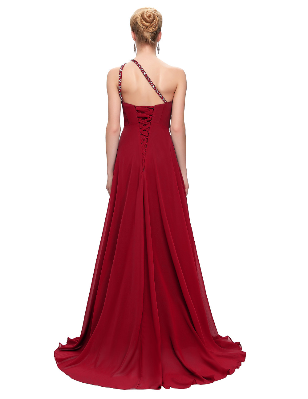 Elegant One Shoulder Long Bridesmaid Dress 16