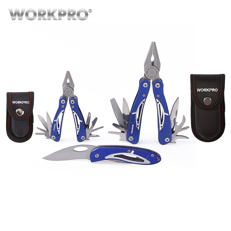 WORKPRO 3PC Camping Tool Set Multi Pliers Tactical Knife  Multifunction Tool Survival Tool Kits