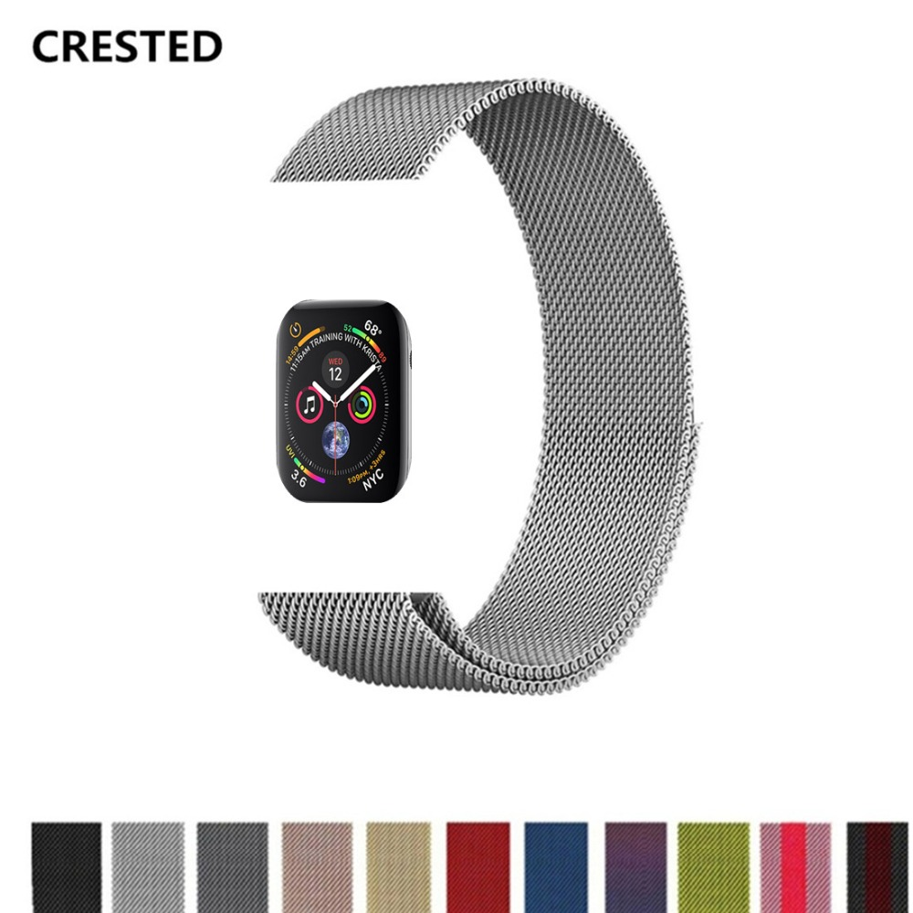 Cresta Milanese Loop para Apple Watch band series 4 44mm/40mm Correa iwatch 3/2/ 1 42mm/38mm Acero inoxidable wris cinturón pulsera