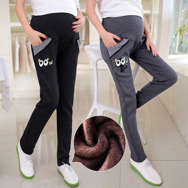 Беременные женщины брюки, кот шаблон плюс кашемировые брюки хлопок, осень и зима теплая забота живота леггинсы, толстые штаны