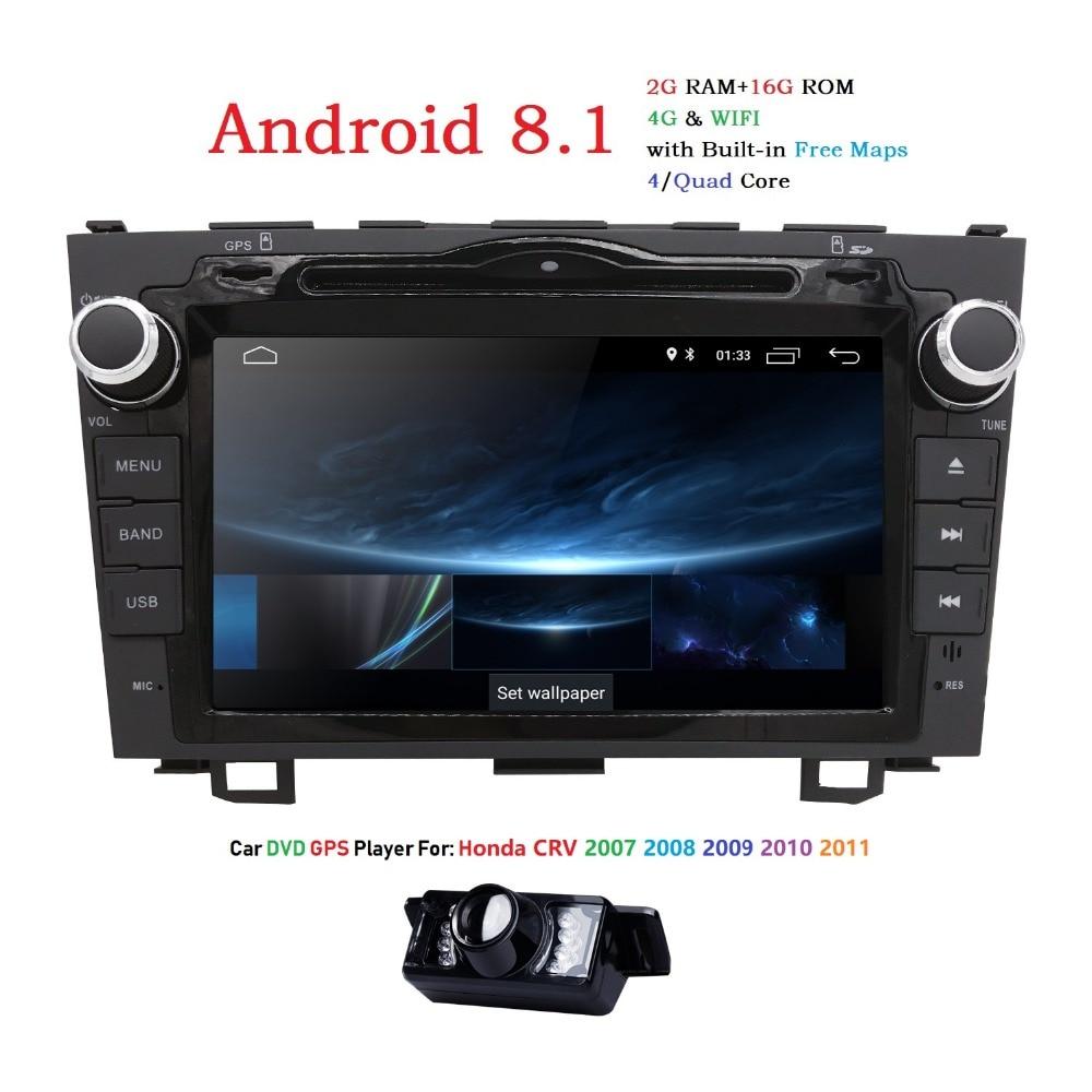 HD Quad Core A7 4*1.2 GHz 1024X600 Android 8.1 Lettore DVD Dell'automobile Per Honda CRV CR-V 2006-2011 4G WiFi GPS di Navigazione Stereo Video SD