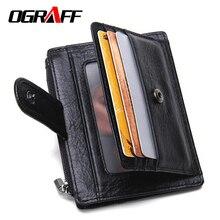 OGRAFF Hommes portefeuilles dollar prix glissière courte en cuir véritable portefeuille d'embrayage designer titulaire de la carte d'affaires marque petit sac à main