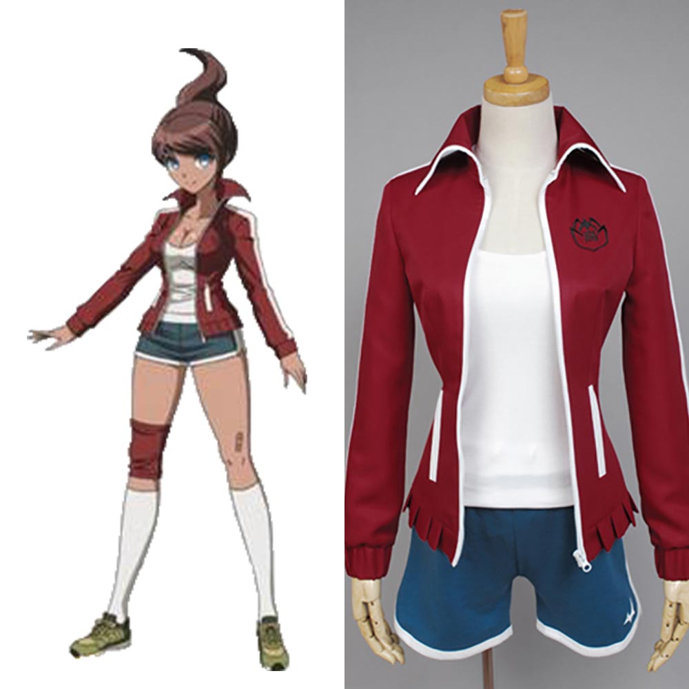 Danganronpa Cosplay Aoi Asahina Red Coat With Blue Pant Cosplay Costume Uniform Full Set School Uniform For Party