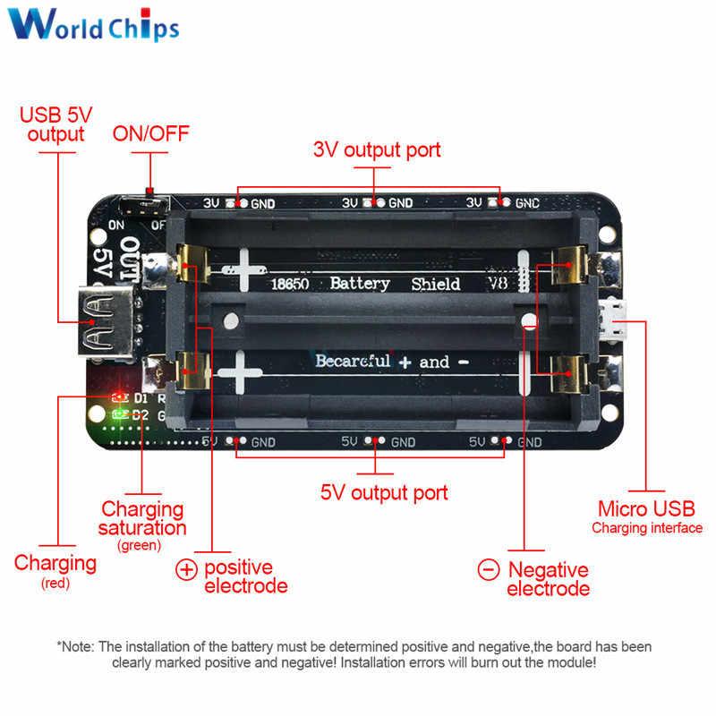 Double 18650 Lithium Battery Shield V8 5V/3A 3V/1A Power Bank Battery Charging Module Micro USB For Arduino ESP32 ESP8266 WIFI