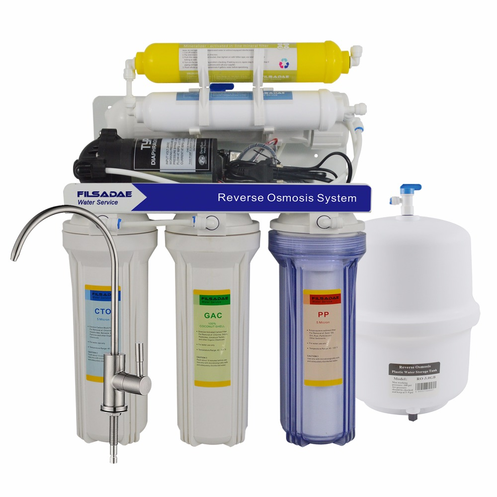 75GPD Undersink Remineralization Reverse Osmosis Filtration System, 6 Stage Household RO Mineralizing Water Filter System