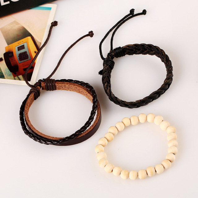 Handmade Vintage Leather Bracelet set with Braided Rope and Beaded Handmade Bracelet