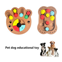 Newly 2019 Wood Dog Food Feeder Toys Claw Bone Educational Dog Puzzle Toys IQ Training Game Plate