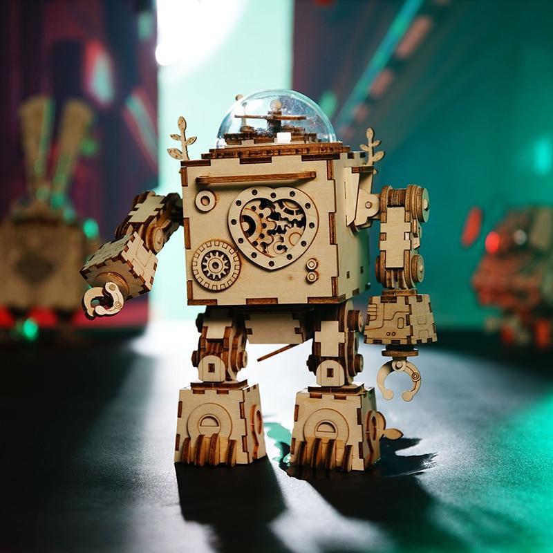 Robotime 3D Puzzle DIY liikkeen kanssa Kokoonpannut malli puinen - Lelu figurines