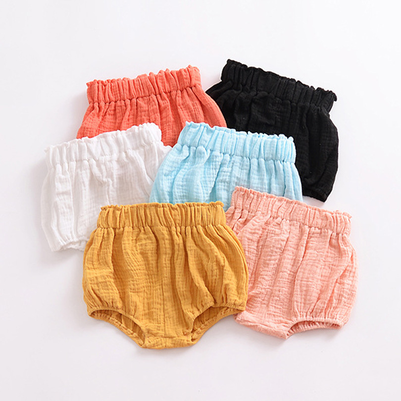 Kawaii Newborn Baby Boys Bloomers   Shorts   PP Pants Cotton Linen Triangle Solid Dot Striped Baby Girls   Shorts   Summer Trousers 0-5Y