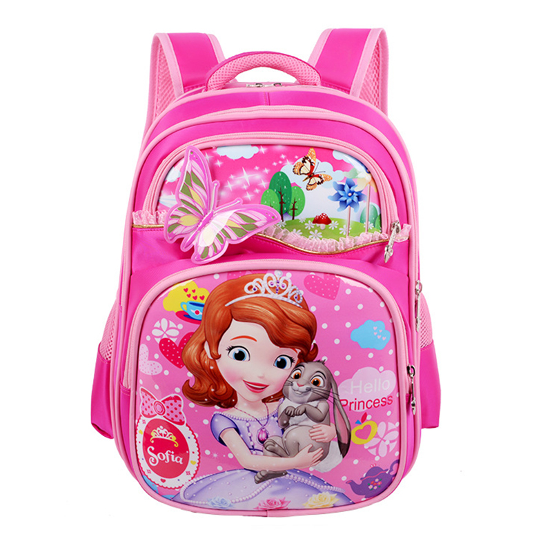 2019 New Orthopedic Breathable Sofia Schoolbag Children Cartoon School Bags For Girls School Backpacks Mochila Infantil(China)