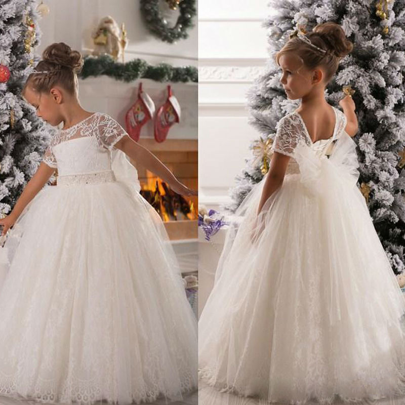 White Ivory 2016 Short Sleeves Ball Gown Flower Girl Dresses with Bow lace Child Party Gown vestidos de comunion 2016