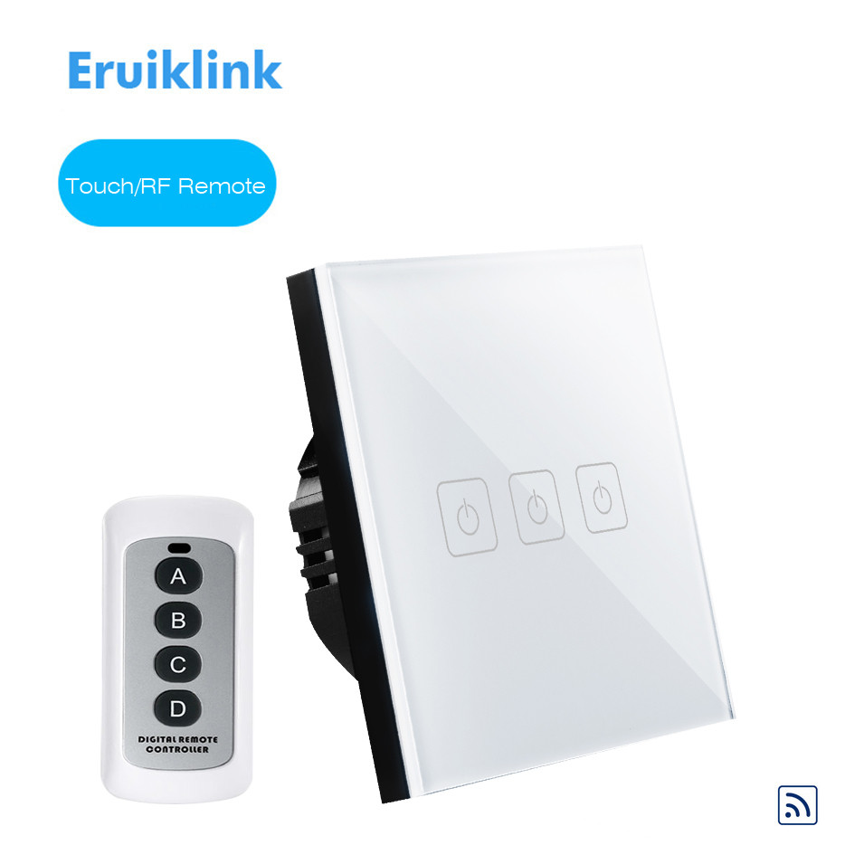 Eruiklink EU/UK Type Remote Control Switch 1 2 3 Gang 1 Way, Crystal Glass Switch Panel, Remote Wall Touch Switch for Smart Home uk touch switch a802 03 crystal glass panel smart one way two gang wall screen switch with remote in white black gold color