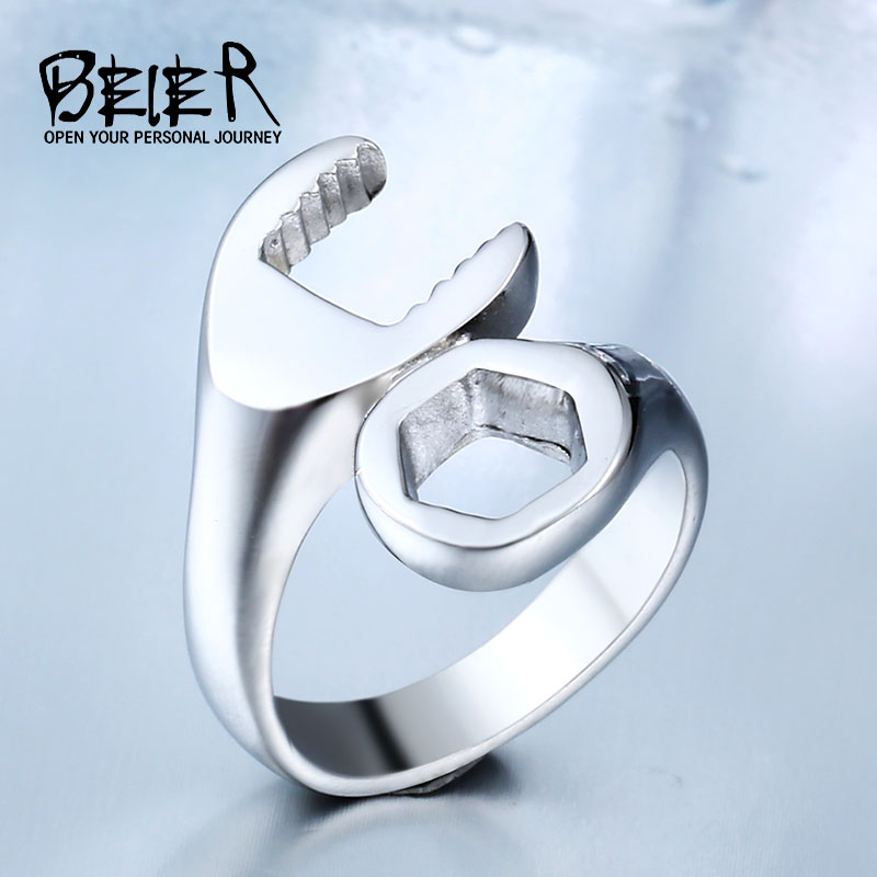 Dropshipping Hot Sale 316L Titanium Rustfritt Stål Punk Biker Wrench Rings Smykker Fashion Simple Man Jewerly BR8-021