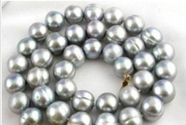 24 AAA+ 10-11MM South Sea gray Baroque Pearl Necklace24 AAA+ 10-11MM South Sea gray Baroque Pearl Necklace