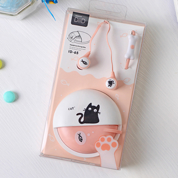 Cute Cat Macarons 3.5mm in-ear Stereo Earphones with Mic Earphone Case for iPhone Xiaomi Girls Kids Child Student for MP3 Gifts