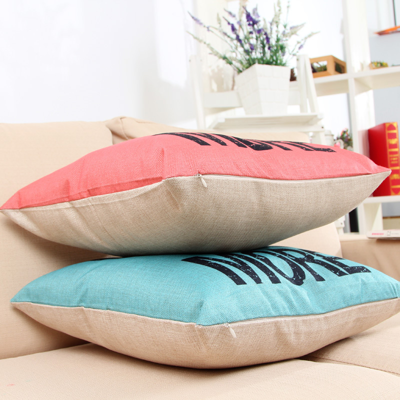 LOVE YOU MORE Monogrammed Initial Cotton Linen Car Sofa Chair Decorative  Throw Pillowcase Cushion Cover Home Decor Green Pink In Cushion Cover From  Home ...