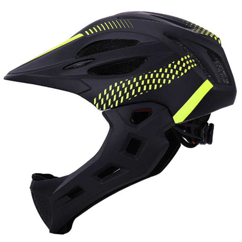 LED Kids Full Face Mountain Bike Helmet Balance Sports Safety Kids Full Covered Helmets Downhill Scooter BMX 42-52 Chin Pro image