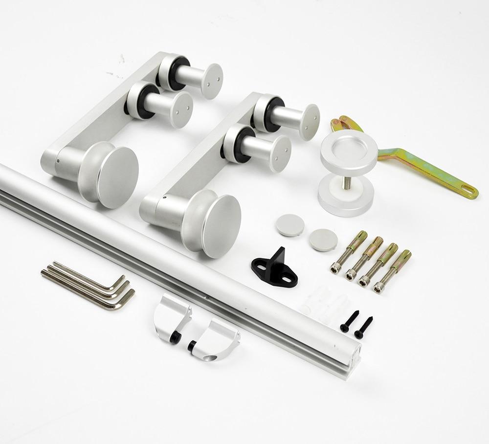 DIYHD 150cm ~ 200cm aluminium porte coulissante en bois matériel de porte de grange élégant européen kit de piste de porte de grange - 3