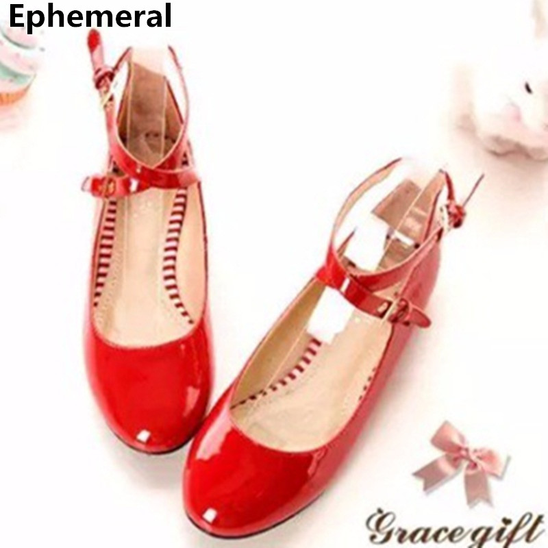 Ladies Big size(4-12)Buckle strap Patent leather round Closed toe Flat with thin shoes women Single Casual summer style Driving odetina 2017 new summer ankle strap ballet flats buckle women mary jane shoes round toe casual flat shoes sweet big size 34 43