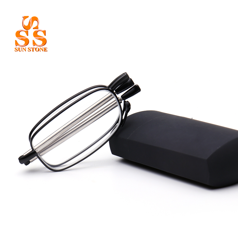 SUNSTONE Men's Business Folding Anti Fatigue Reading <font><b>Glasses</b></font> High Grade <font><b>Foldable</b></font> Pocket Presbyopia Reader Hyperopia Eyewear.G389