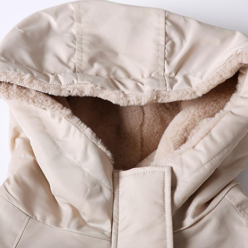 Capuchon Velouté Beige Lâche Et Costume W2732 Artistique Parka Coton Grande Chaud Manteau De À Taille wqRWgHXxF