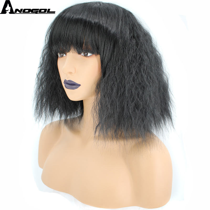 Anogol Glueless Natural Black Short Curly Bob High Temperature Fiber Synthetic Cosplay Wigs With Bangs