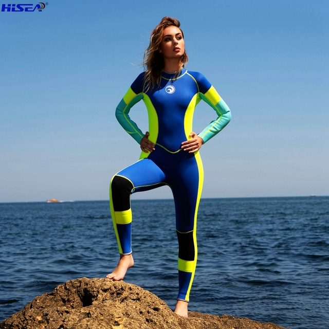 Hisea Woman one piece High Elastic 3mm neoprene wetsuit Surfing diving suit Bright color splicing classic long sleeved Swimsuit