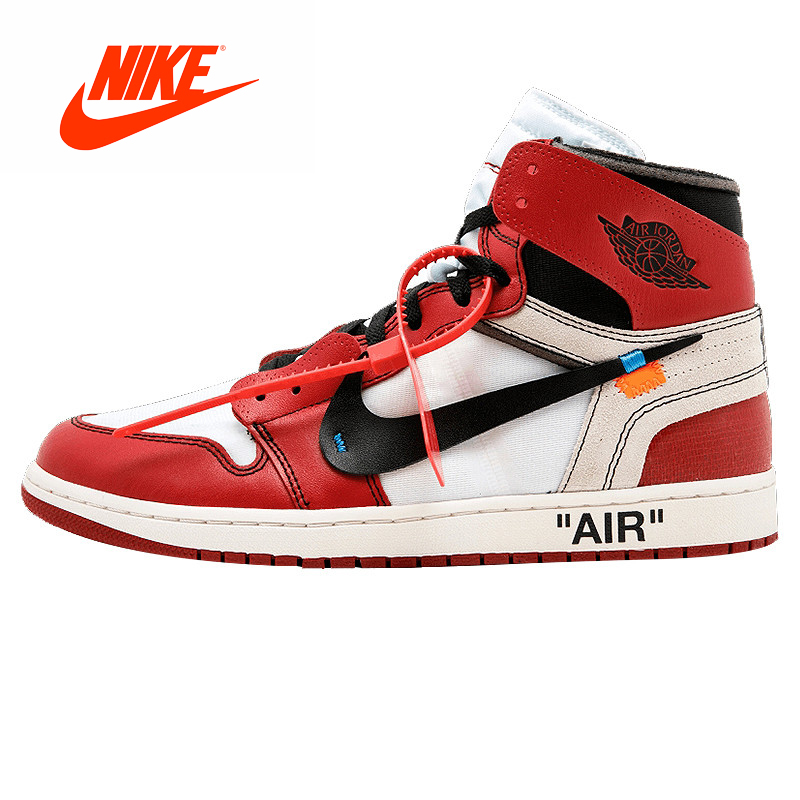 new styles 2b567 f9796 Original New Arrival Authentic NIKE Air Jordan 1 X Off-White Mens  Basketball Shoes Sneakers AJ1 Good Quality AQ0818-148