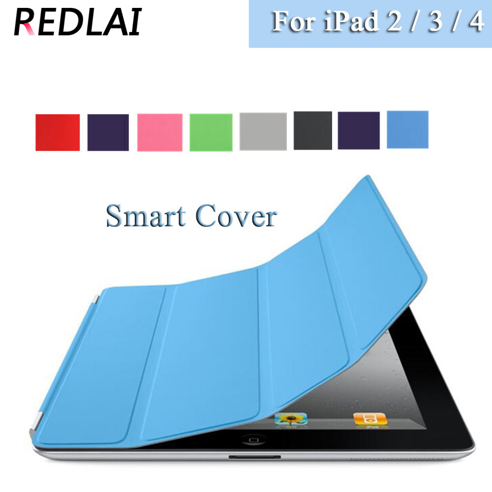 Redlai Ultra-thin Magnetic Front PU Leather slim Smart Cover Skin + crystal transparent Hard Back Case For Apple iPad 2 3 4 surehin nice tpu silicone soft edge cover for apple ipad air 2 case leather sleeve transparent kids thin smart cover case skin